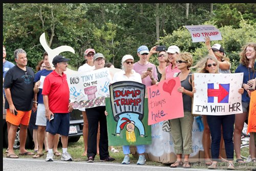 Photo by Nicole Harnishfeger Republican presidential candidate Donald Trump was met by an estimated 250 protesters Saturday during a fundraising trip to Nantucket. I&M Photo Galleries
