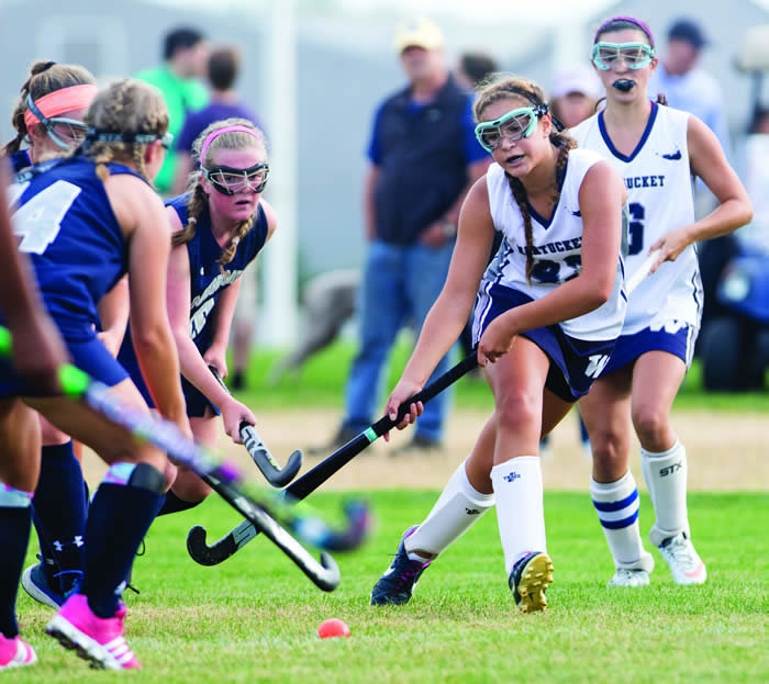 Photo by Nicole Harnishfeger Isabella Kyburg approaches the ball in Nantucket's 6-1 loss to Monomoy. Sports Photo Galleries