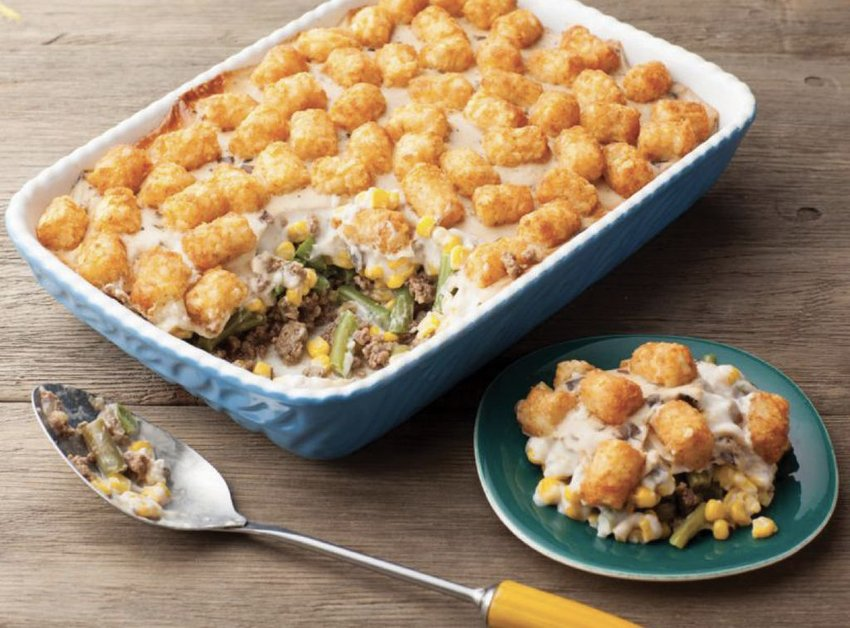 "Casseroles that rely on a mixture of meat and vegetables, bound together by a sauce, often in the form of a can of cream of mushroom soup, are soul-satisfying comfort foods known as ""Hotdish."""