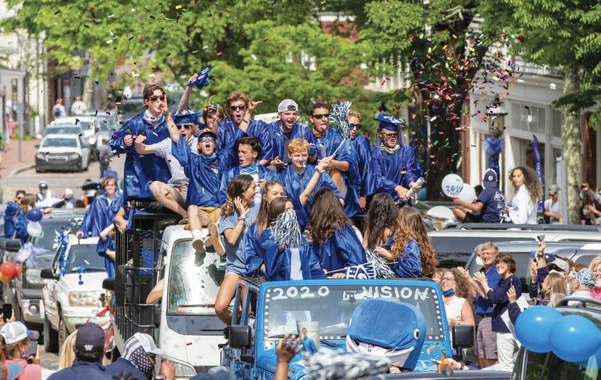 Nantucket High School graduation was held virtually and broadcast on NCTV, but it was followed by a downtown car parade watched by hundreds of people. The parade came at a time when the island was in the midst of 34 straight days with no new coronavirus cases.