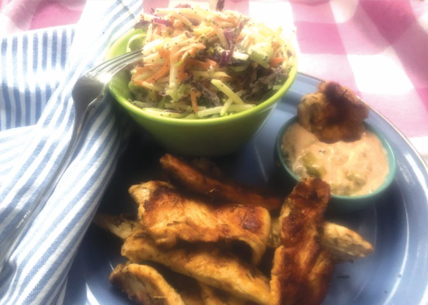 Grilled Cajun chicken with winter coleslaw and remoulade.