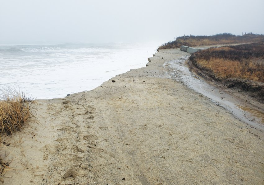Twenty feet of Sheep Pond Road was lost during winter storms last week, cutting off access for several residents.