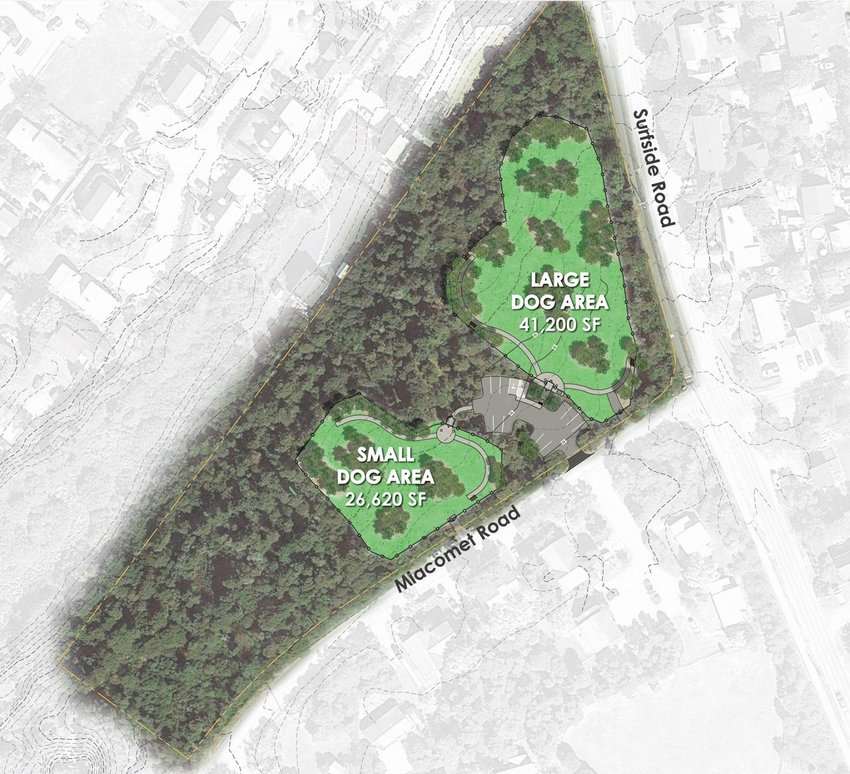 The Nantucket Land Bank is putting in a dog park at Miacomet and Surfside roads.