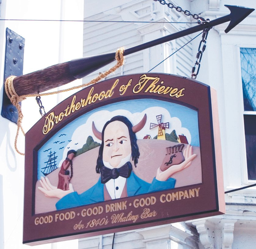 The sign outside the iconic Brotherhood of Thieves restaurant on Broad Street.