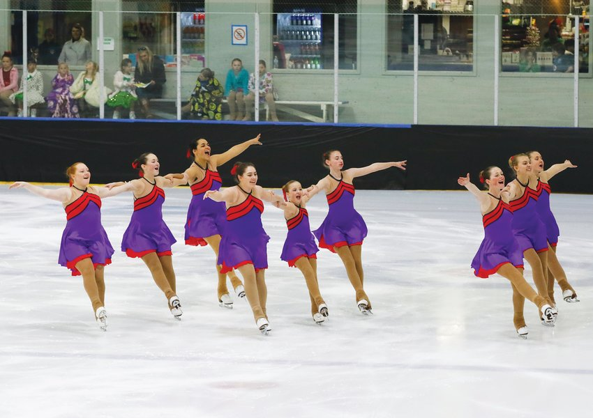 The Island Waves synchronized skating team performs during the Nantucket Skating Club's annual spring show in April 2019. Last year's show was canceled due to COVID-19, and the ice will be down this April.