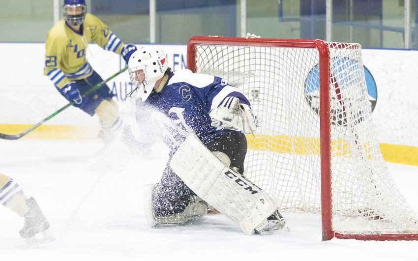 Senior goalie James Culkins makes a save against St. John Paul II in the semifinals of the Cape & Islands League Lighthouse Division playoffs. The Whalers went on to beat Dennis-Yarmouth 3-1 Saturday to win the championship.