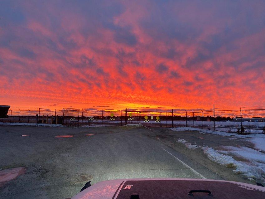 The sun rises over Nantucket Memorial Airport Feb. 22.