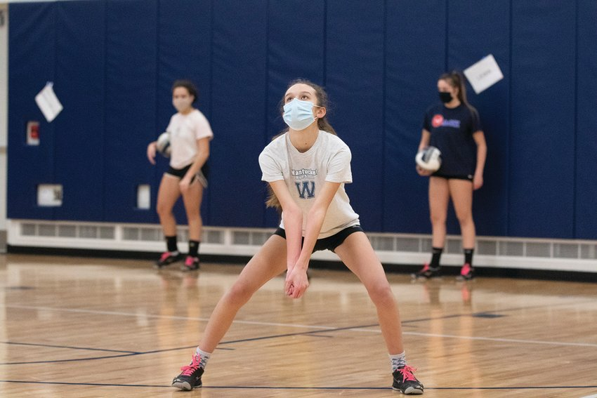 Adrienne Riseborough in the Nantucket High School gym during volleyball practice this week.