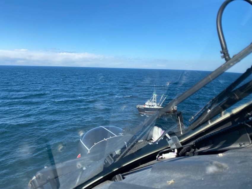 The U.S. Coast Guard airlifted a sick fisherman from a boat off Nantucket Sunday.
