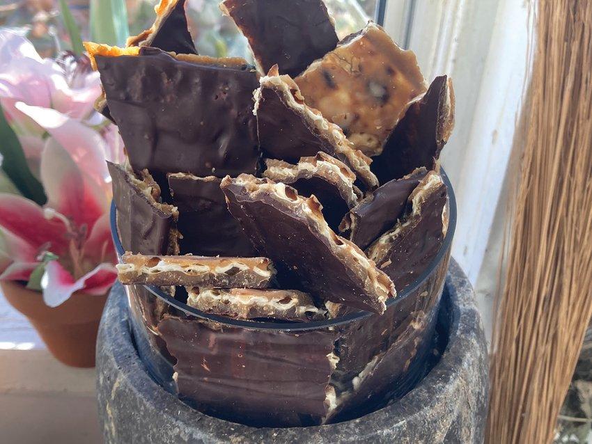 Chocolate and caramel covered matzo is just like a Heath bar.