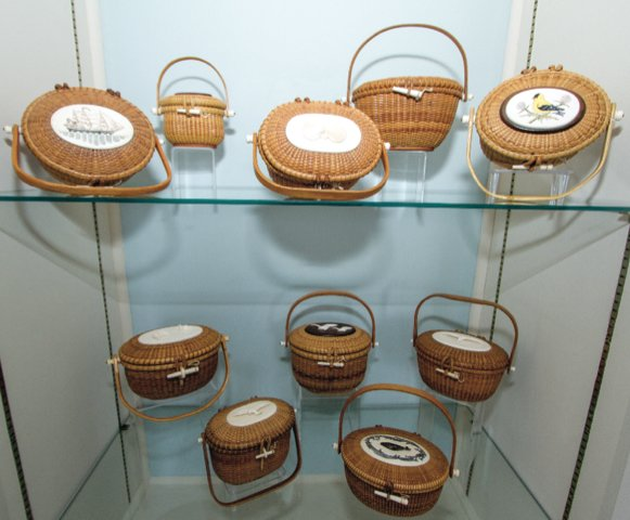 An exhibit at the Nantucket Lightship Basket Museum on Union Street.