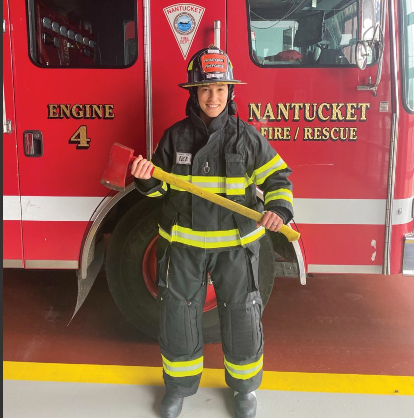Firefighter Alana Macey wearing new firefighting gear that the Nantucket Fire Department received this week that is free of PFAS on the outside.