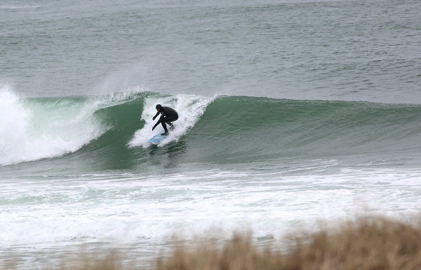 Frank Daily surfing the south shore April 2.