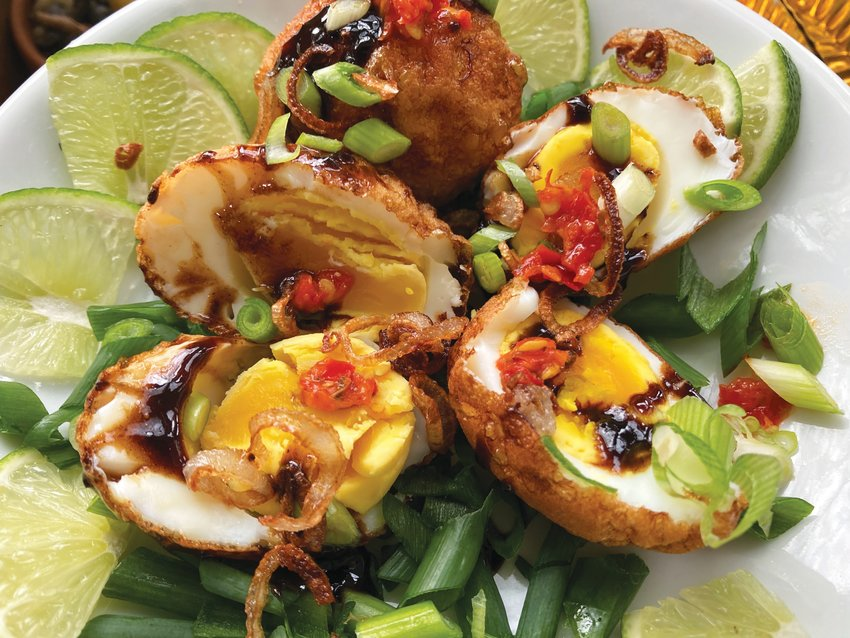 Son-in-Law Eggs are hard-cooked, fried and served with a sweet, salty and spicy tamarind-based sauce.