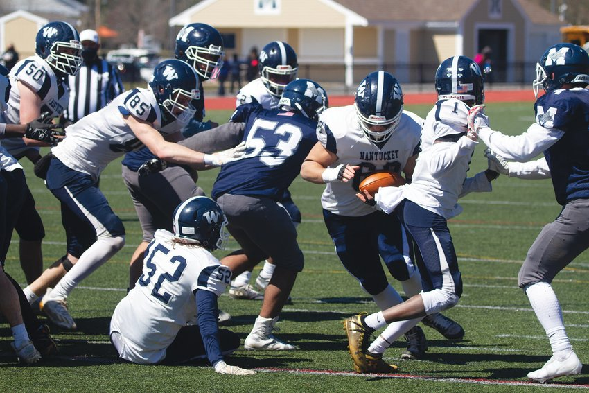 Defensive Tackle Hunter Paglia scored a touchdown and a two-point conversion Saturday as he carved out a role as the Whaler's fullback.