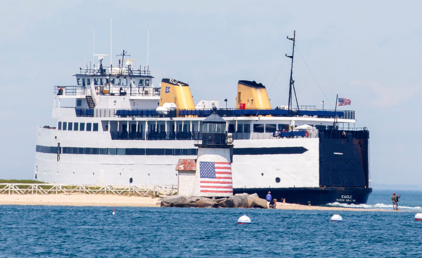 Photo by Nicole Harnishfeger.The M/V Eagle rounds Brant Point Lighthouse enroute to Hyannis. May 4, 2020.