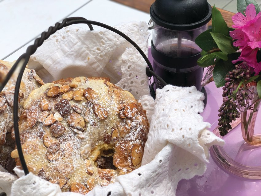 Almond croissants provide a base for a delicious Mother's Day brunch.