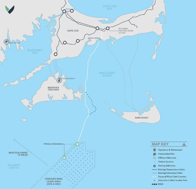 Vineyard Wind's proposed alternative-energy project is located 14 miles southwest of Nantucket.
