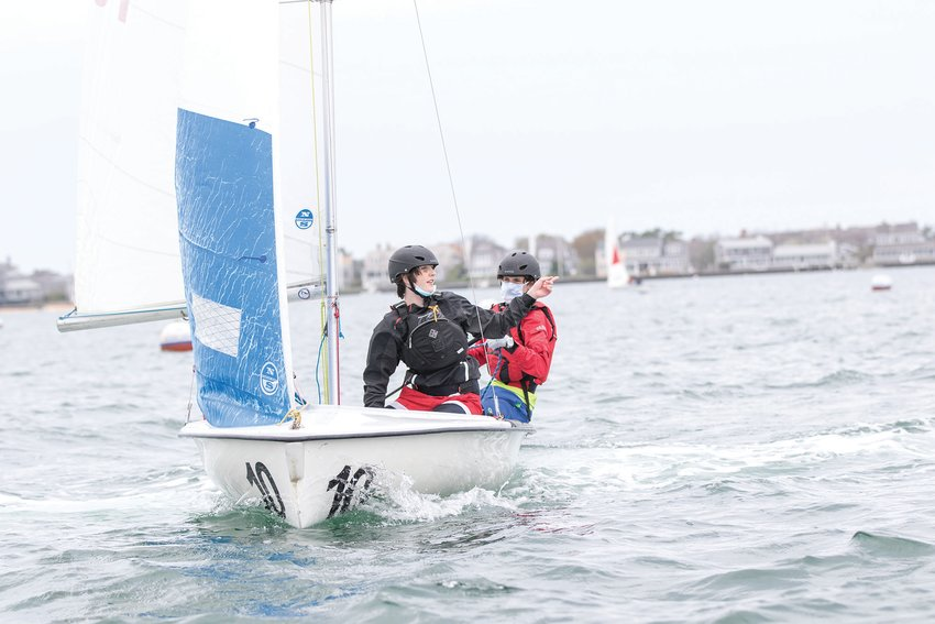 The Nantucket sailing team on the water in preseason practice last week.