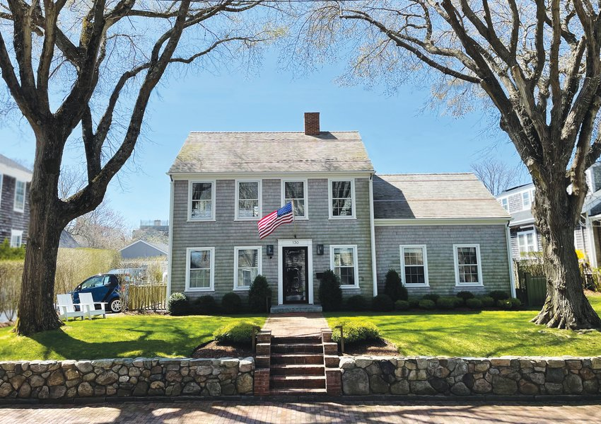 This four-bedroom Main Street home sits on an elevated lot.