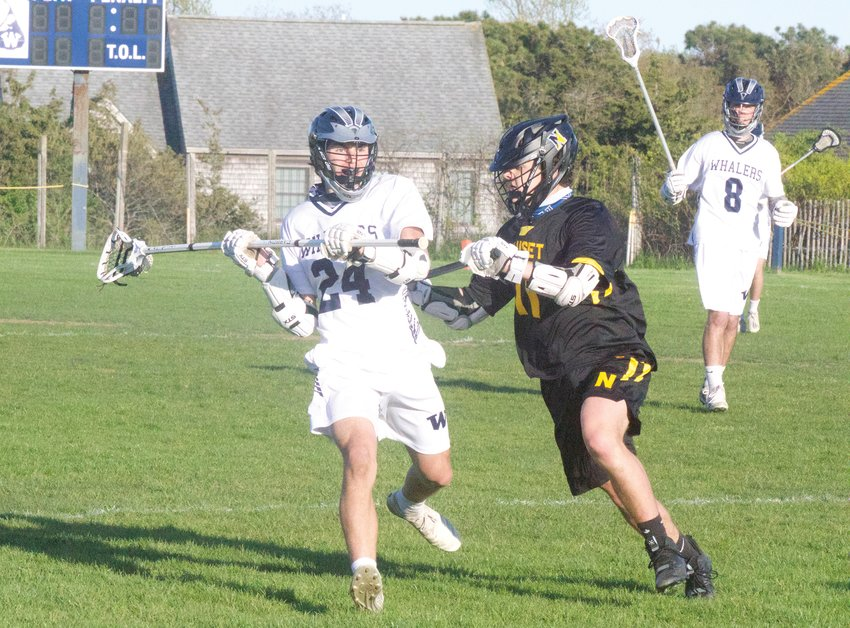 Justin Zadroga looking upfield in Thursday's win over Nauset.