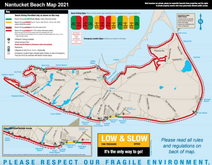 The Town of Nantucket's 2021 Beach Map, indicating where beach-driving is permitted, and where off-beach parking is available and lifeguards are present.