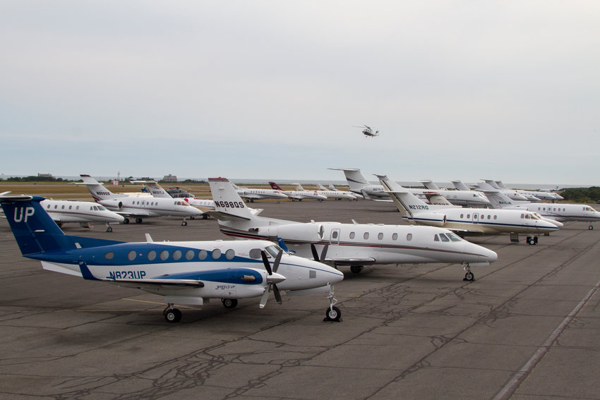 Jets on the tarmac on a busy August weekend.