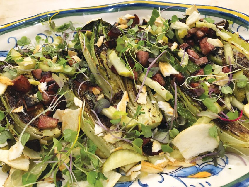 Grilled Romaine with Kielbasa Croutons and Dill-Pickle Vinaigrette is the perfect side to accompany Smashed Burgers.