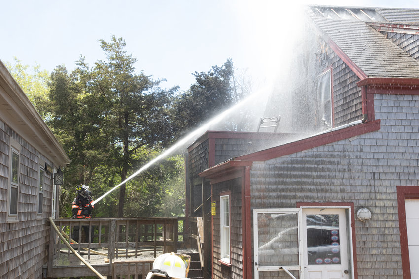 The Nantucket Fire Department responded to a fire that broke out at a house on Salros Road Friday afternoon.