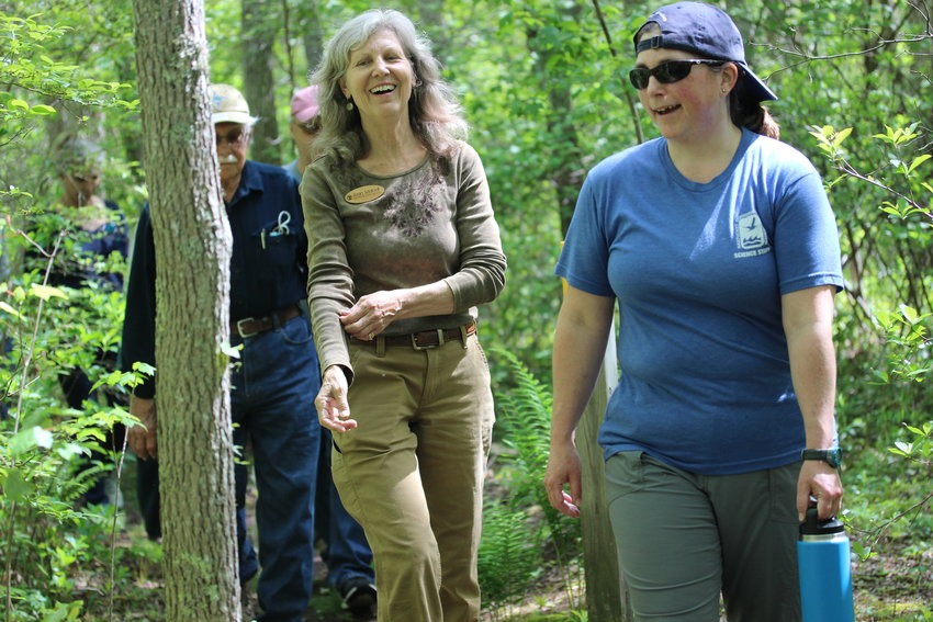 Squam Swamp and Squam Forest Farm were inducted into the Old-Growth Forest Network this week. Above, Kelly Omand, of the Nantucket Conservation Foundation (right) walking with Old-Growth Network founder Joan Maloof.