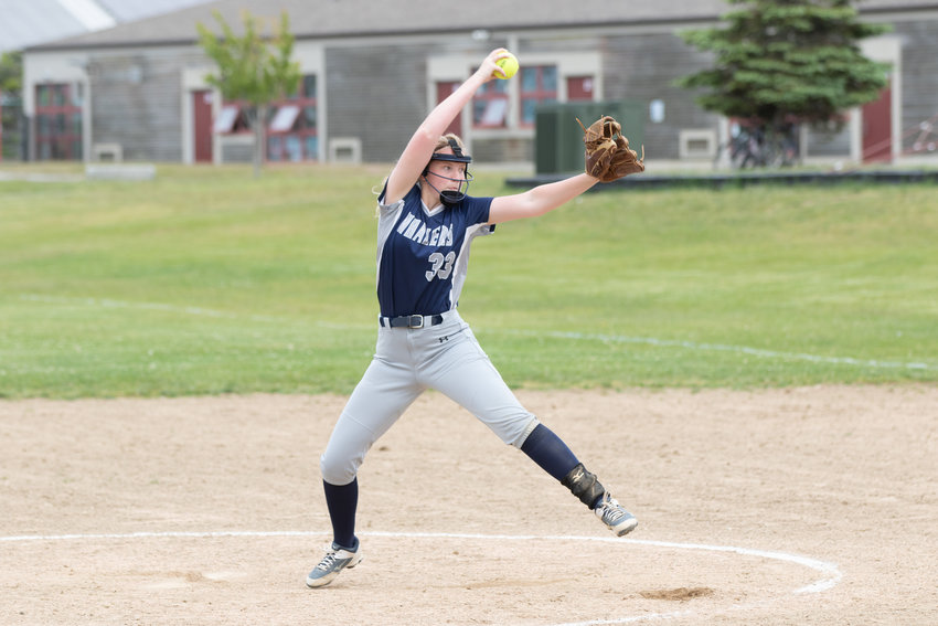 Maclaine Willet unleashes a pitch in Nantucket's win over the Vineyard.