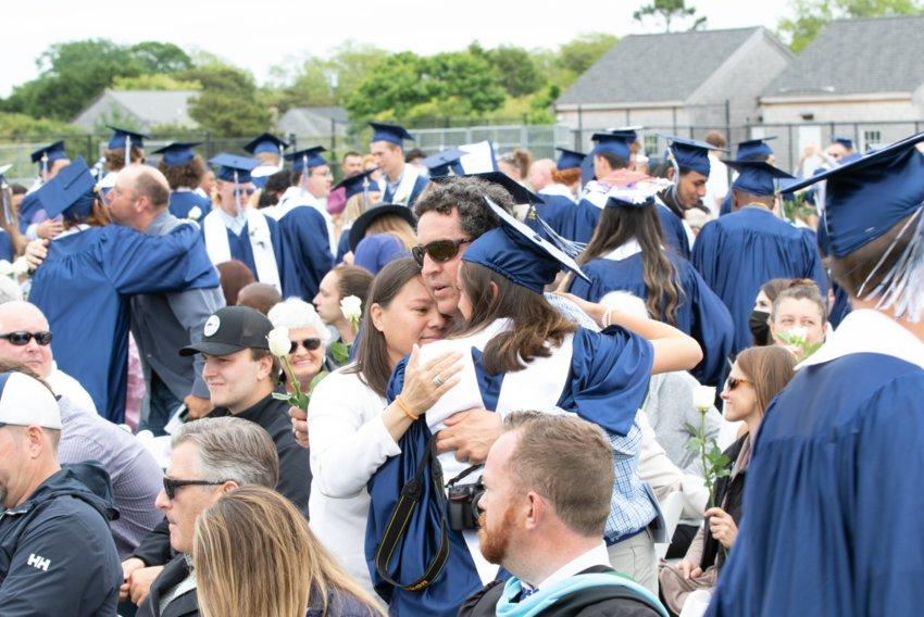 Nantucket High School's Class of 2021 graduates outdoors Saturday.