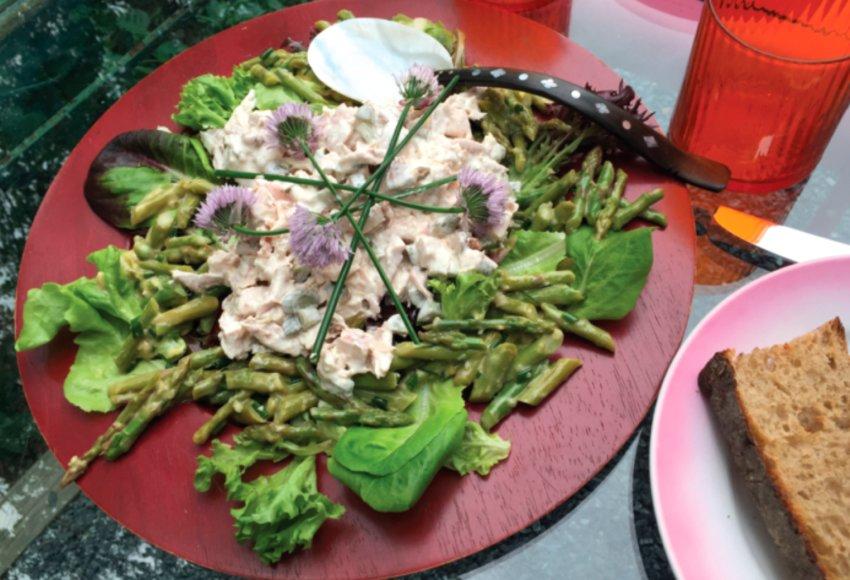 Yogurt-mayonnaise chicken salad with asparagus vinaigrette.