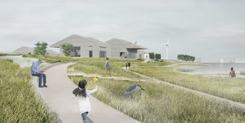 The working waterfront reimagined by Yale students Niema Jafari, Xuefeng Du and Kevin Gao.