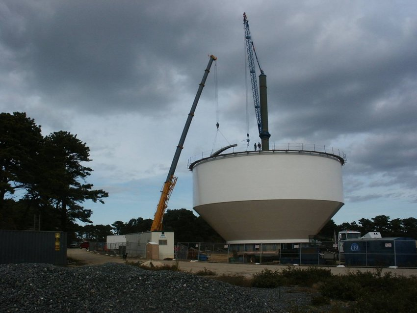 Construction of Nantucket's most recently-built water tower in 2009.