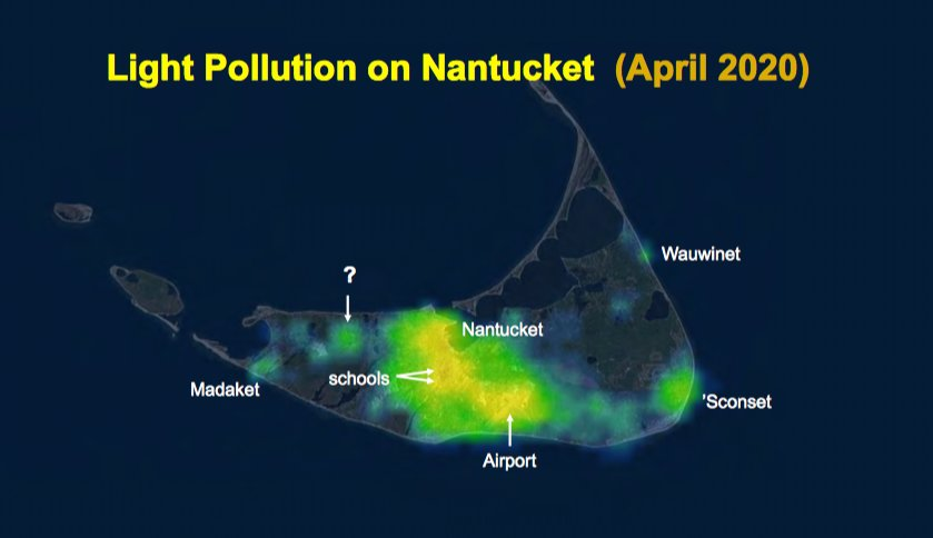 Light pollution has been increasing at a rate of 2.4 percent a year on Nantucket.