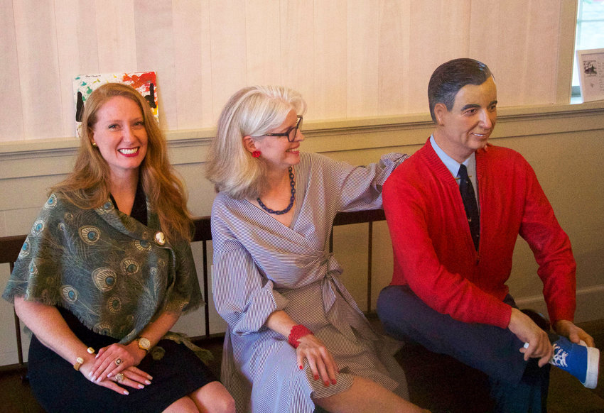 Nantucket Dreamland executive director Alicia Carney, Michelle Keeler and the late Seward Johnson's sculpture of Fred Rogers at its unveiling at the theater last month.