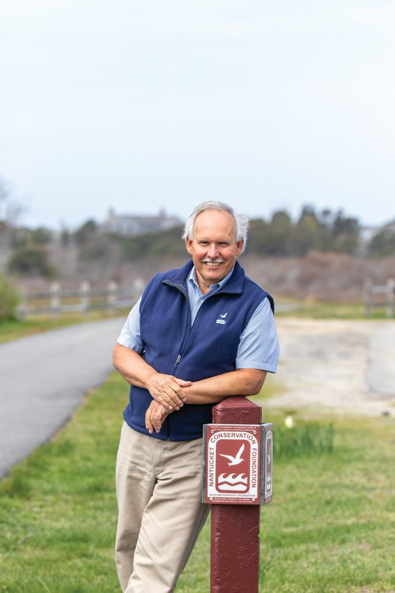 Jim Lentowski, in a portrait taken in June 2018 shortly before his retirement after 47 years as executive director of the Nantucket Conservation Foundation.