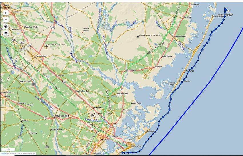 Adam Nagler's paddle-board progress up the New Jersey coast as of Wednesday night.