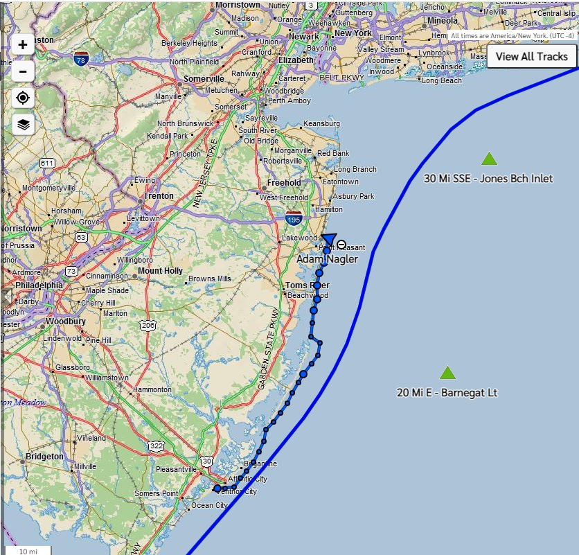 Adam Nagler's paddle-board progress toward Nantucket.