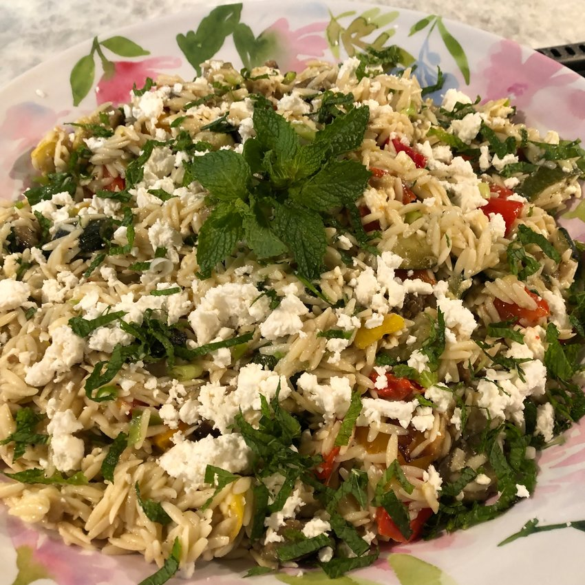 Orzo with Roasted Farm Vegetables serves a crowd and is a tasty accompaniment to grilled meat and fish.