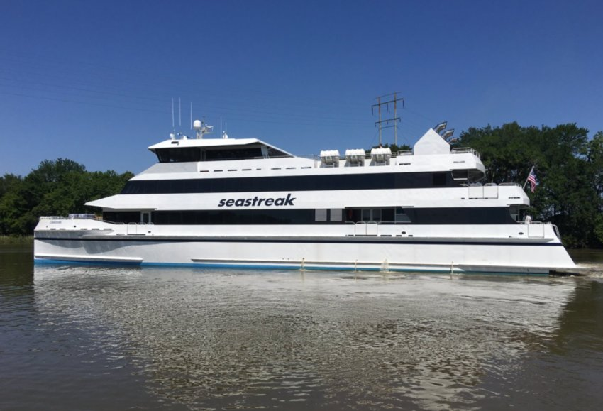 The Seastreak fast ferry Commodore is out of service after running aground in Brooklyn, N.Y. July 3.