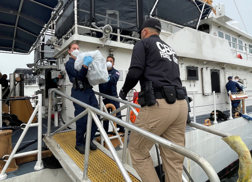 Katherine Pittman, left, a 2018 Nantucket High School graduate and currently a rising senior at the U.S. Coast Guard Academy, was aboard the USCG cutter Joseph Tezanos when it seized $15 million worth of cocaine off the coast of Puerto Rico earlier this month.