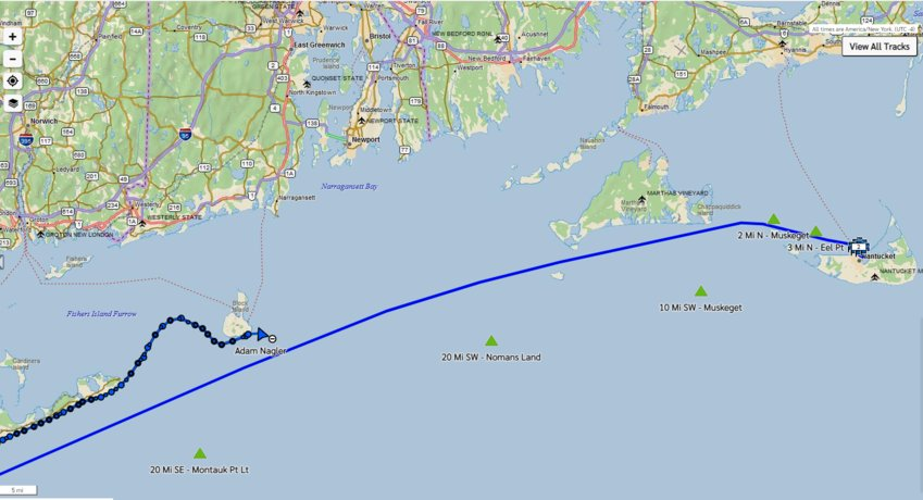 Long-distance paddle-boarder Adam Nagler set off from Block Island en route to Martha's Vineyard at 5 p.m. Saturday.