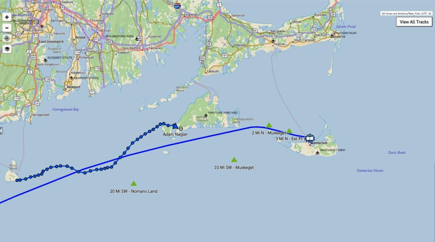 Adam Nagler paddled 20 hours straight from Block Island to Martha's Vineyard Saturday and Sunday, where he is resting before setting off on his final push to Nantucket.