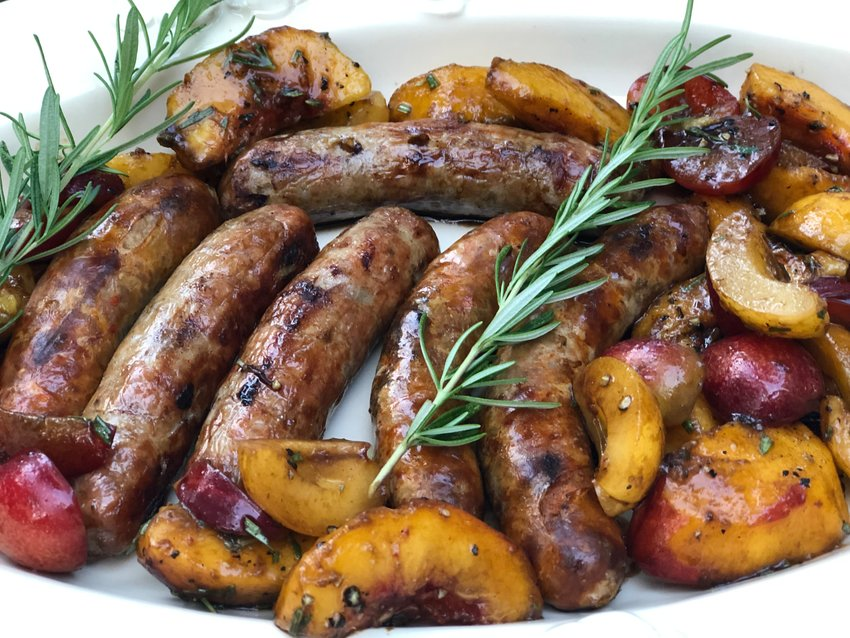 Ron Suhanosky's Grilled Sausages with Macerated Stone Fruits and Rosemary.