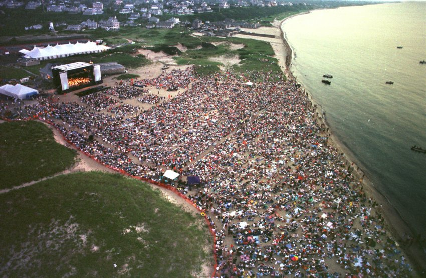 An aerial view of the Boston Pops benefit concert for Nantucket Cottage Hospital at Jetties Beach, which annually draws about 8,000 people.