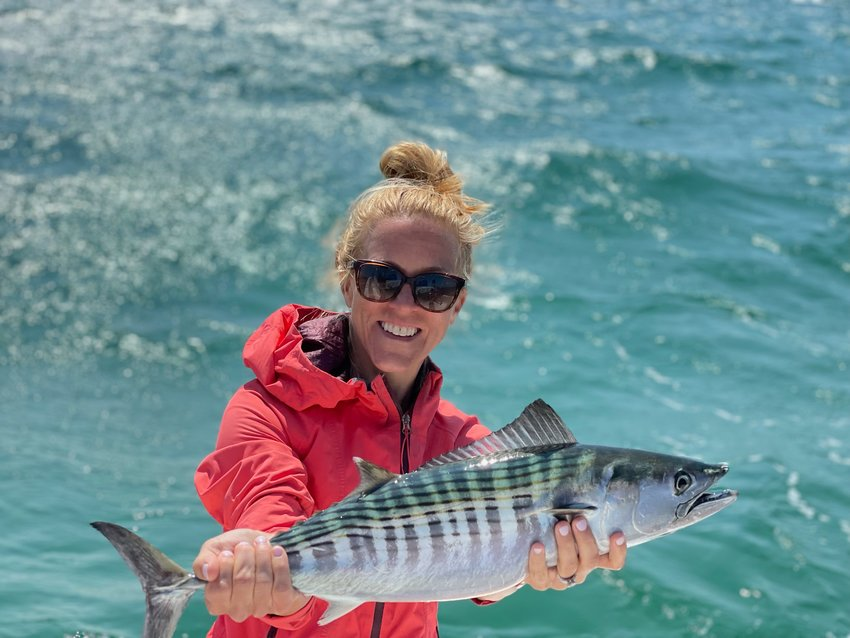 Carrie Chapman with a bonito she caught this week.