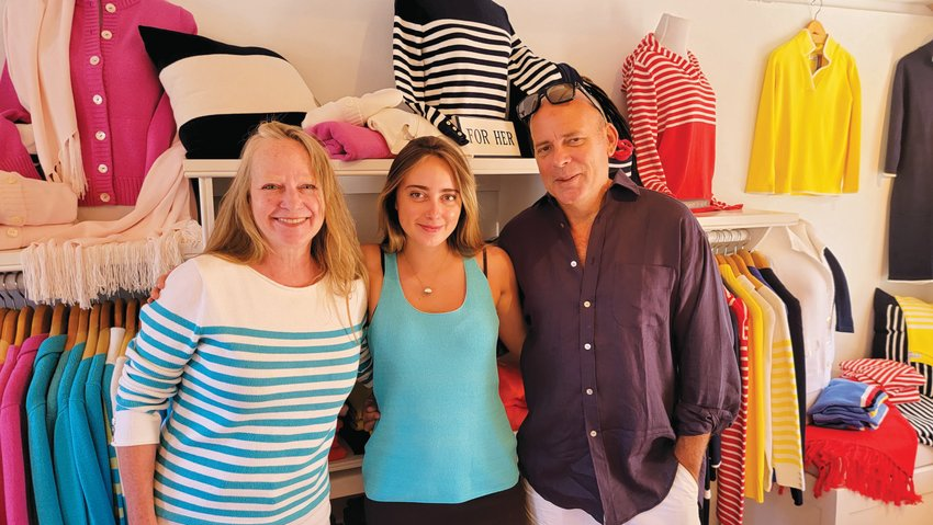 Amy, Ella and Peter England in the Peter England Nantucket clothing store at 3 Old South Wharf.
