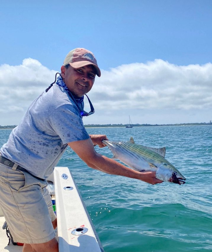 Ken Gammill with a bonito he caught in Nantucket Harbor this week.